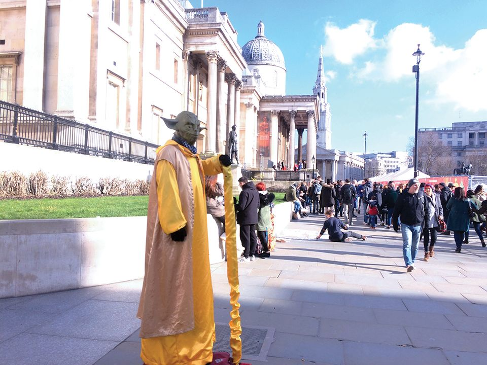 The director of the National Gallery, Gabriele Finaldi, has been critical of street entertainers in front of the institution in Trafalgar Square