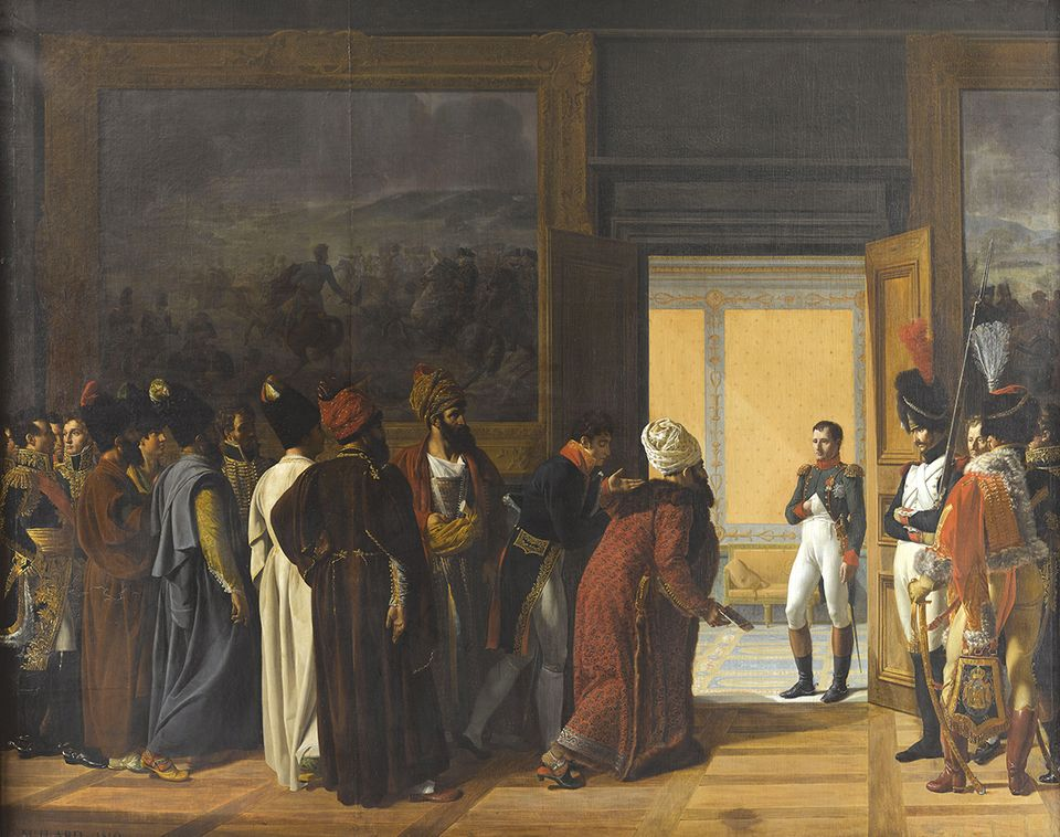 François-Henri Mulard's Napoleon Receives the Persian Ambassador at Finkenstein castle (1810)
