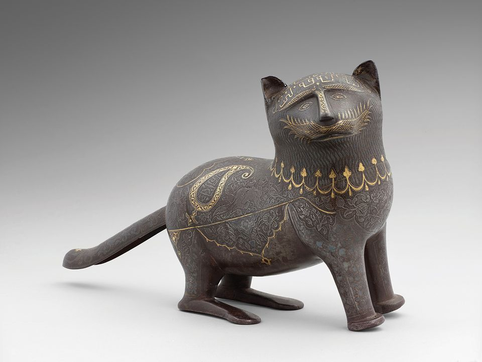 a 19th-century Iranian sculpture of a cat