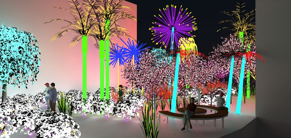 Alia Farid and Aseel AlYaqoub's Contrary Life: A Botanical Light Garden Devoted to Trees (2018). Commissioned by Art Jameel for the Jameel Arts Centre, Dubai. Images courtesy of the artists