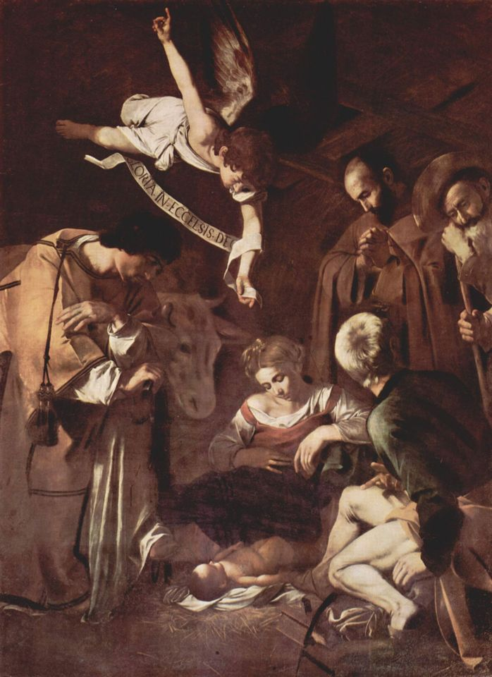 Caravaggio, Nativity with St. Francis and St. Lawrence (1600)