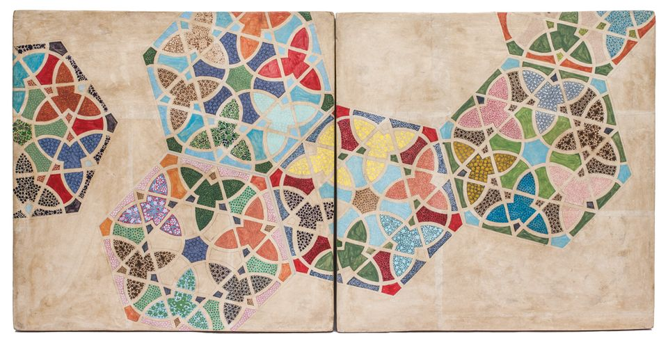 The Bengali artist Praneet Soi's Srinagar II (2015) is part of a series of papier-mache tiles