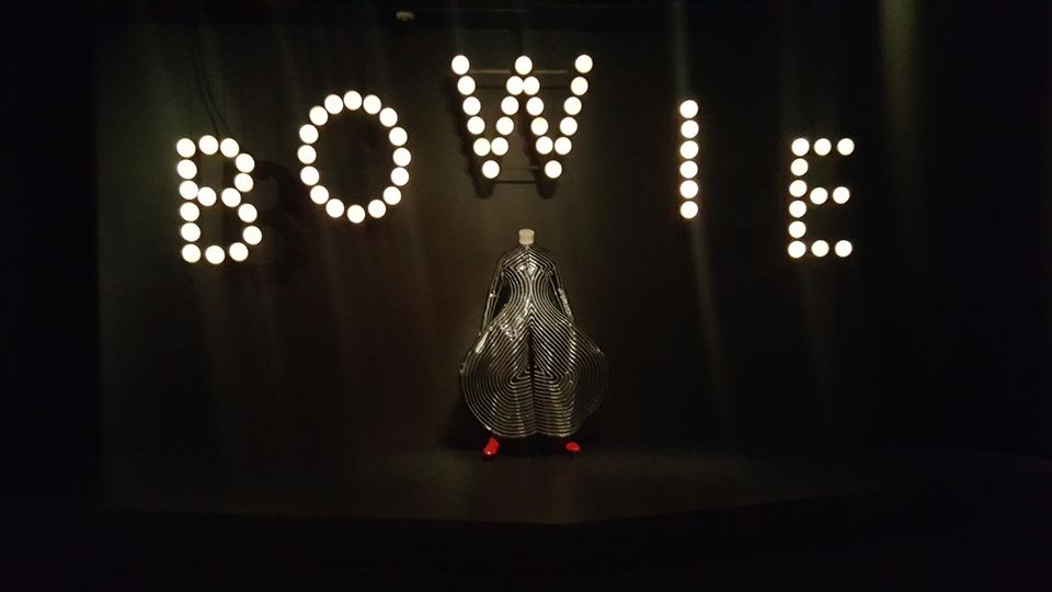 David Bowie Is at the Brooklyn Museum opens with a new object for this iteration: a sign from the artist's 2002 NYC Bowie-Thon concerts