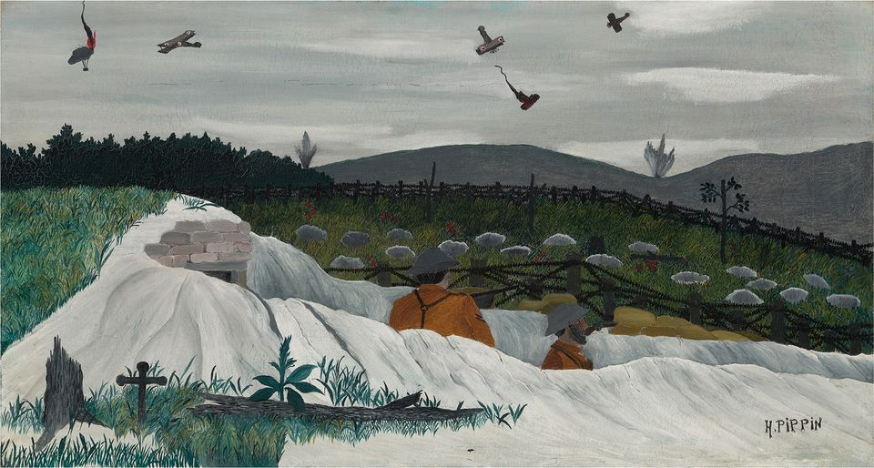 Horace Pippin, Dog Fight over the Trenches, 1935-1939 oil on canvas overall: 45.72 x 84.14 cm (18 x 33 1/8 in.)
