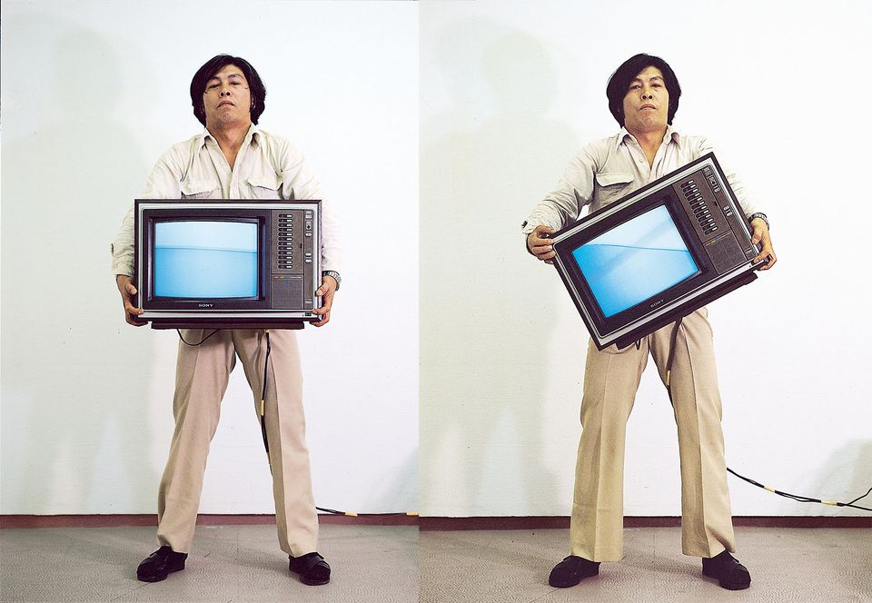 Park Hyun-Ki (1942-2000), showing with Gallery Hyundai, Seoul. While Nam June Paik, considered the father of video art, might be better known internationally, Park Hyun-Ki is one of the earliest artists  inside Korea to experiment with new media. Studying painting and architecture at Hongik University, he supported himself as an interior designer but started creating works using video monitors as sculptural elements in the 1970s after seeing Paik's Global Groove at the Daegu American Cultural Center. Park's pieces often approach technology through a decidedly Eastern lens, such as his carefully stacked Untitled (TV Stone Tower), or his kaleidoscopic Mandala video projections. Above, a c-print of Park Hyun-Ki's performance Video Inclining Water (1979/2018)