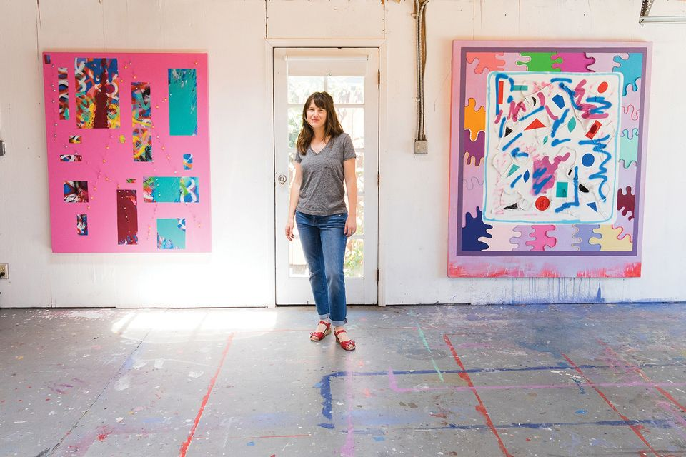 Sarah Cain (b. 1979), showing with Galerie Lelong, Paris and New York and Honor Fraser, Los Angeles. Sarah Cain's feverishly colourful paintings recall work by some of the graffiti-inflected artists of the Bay Area Mission School, and she brings that energy to life with two day painting (2018), an installation at the entrance of Pier 94, which the artist created just before the fair opened as part of its Platform exhibition of large-scale works. A kind of painterly disobedience is essential to the artist's practice: consider the bold geometric works at Honor Fraser's booth, painted on dollar bills, music sheets, book jackets and stretcher bars, and her patchwork painting Sky and Sea at Galerie Lelong.