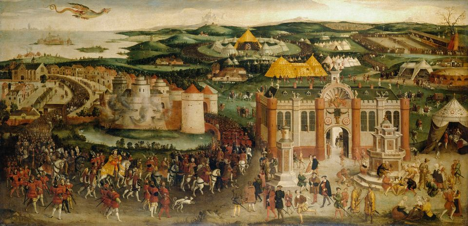 A painting of The Field of the Cloth of Gold (around 1545) in Hampton Court Palace, by an unnamed British artist