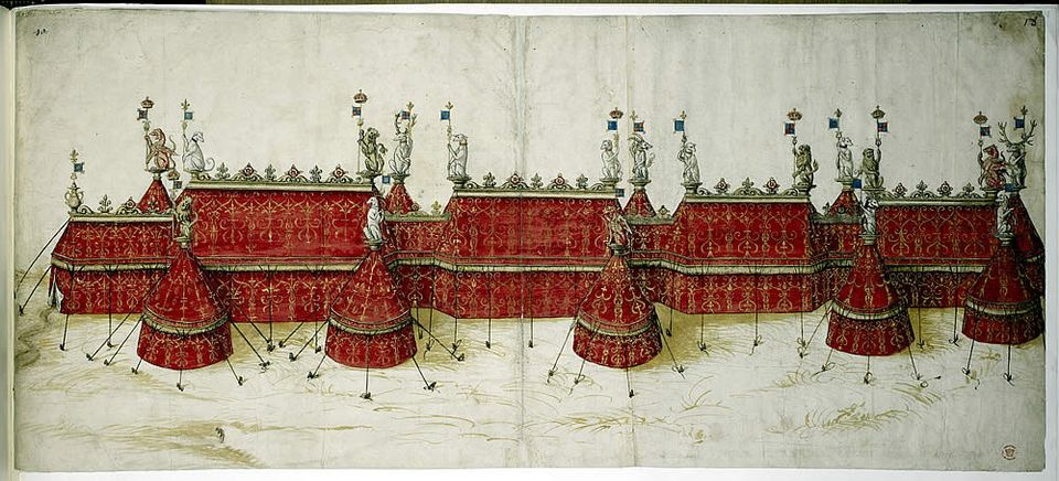Tent design for the Field of Cloth of Gold from an illuminated manuscript held in the British Library