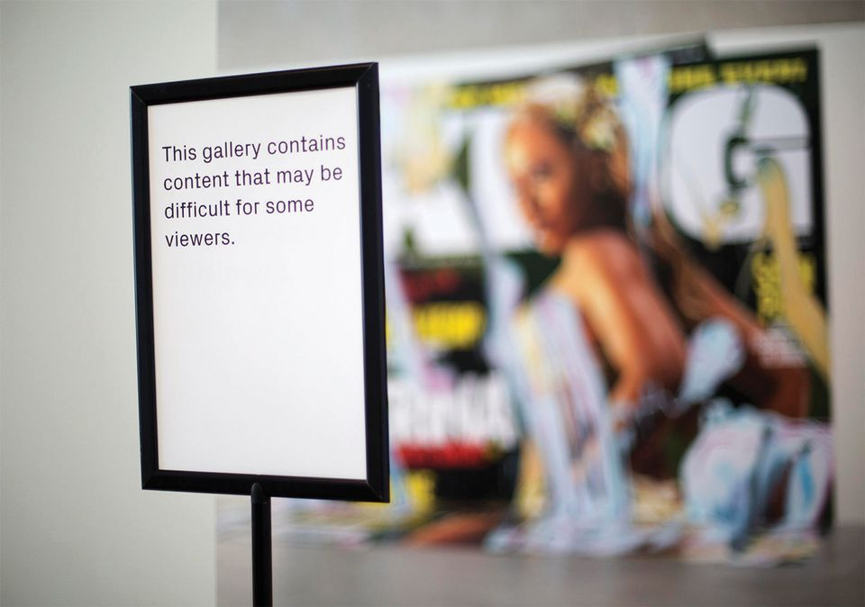 Warning signs at Contemporary Art Museum St Louis following criticism and outrage over an exhibition of work by Kelley Walker