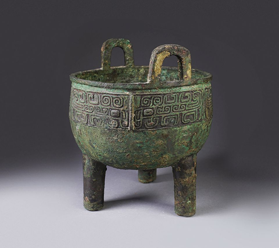 A Chinese archaic bronze ding, or food vessel, from the Western Zhou dynasty