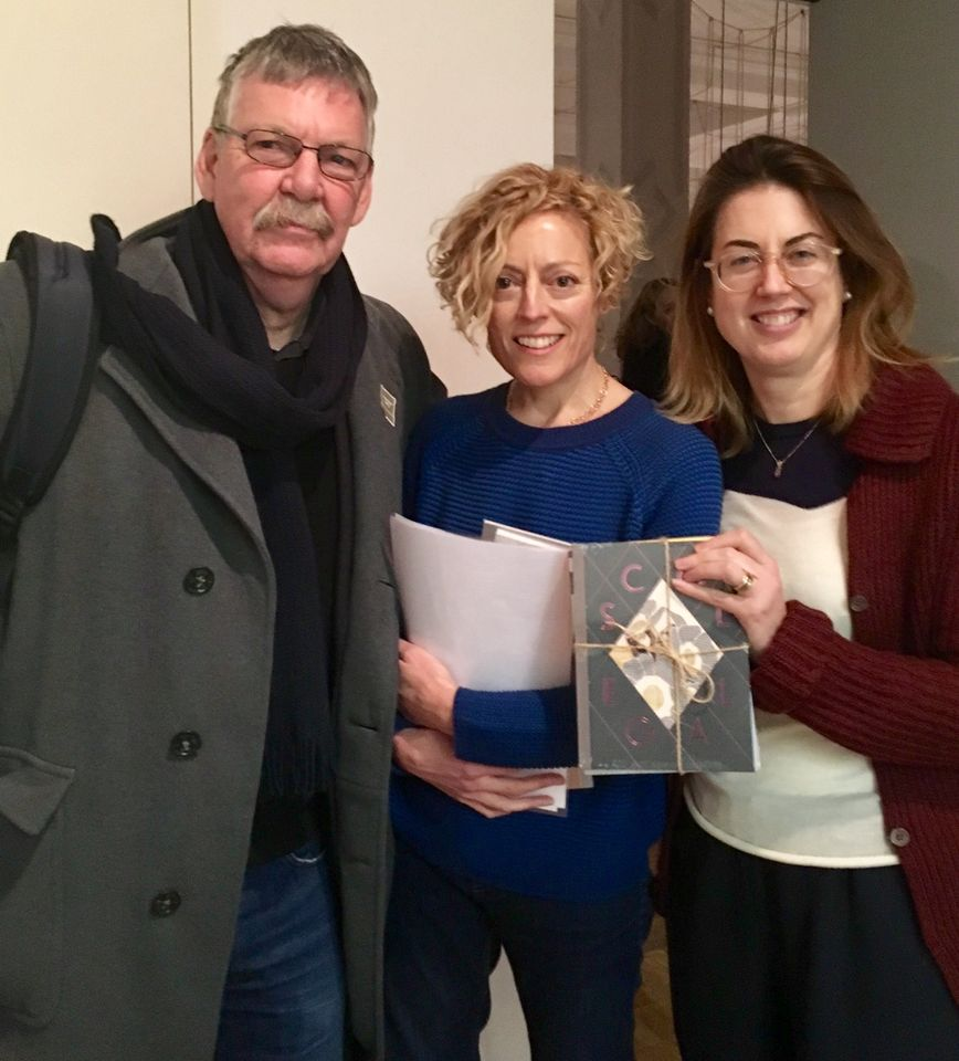 Artists John Stezaker and Georgie Hopton with the deputy director of London's Institute of Contemporary Arts,  Katharine Stout