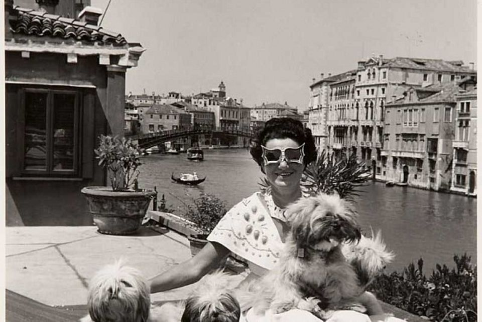 Peggy Guggenheim at her home in the Palazzo Venier dei Leoni, Venice, Italy, 1950