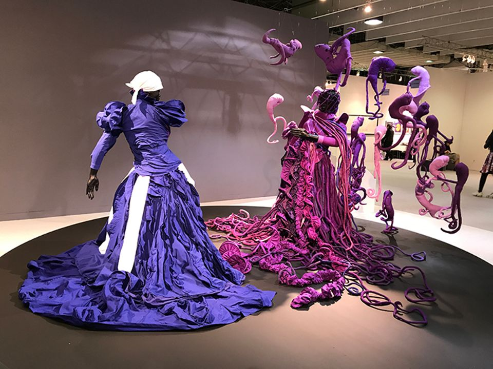 Mary Sibande's installation Cry Havoc (2014), presented by Gallery Momo as part of the Armory Show's Platform series