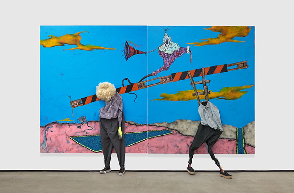 Simphiwe Ndzube's The Theft of Fire (Diptych), on view at Nicodim gallery's booth at the Armory Show