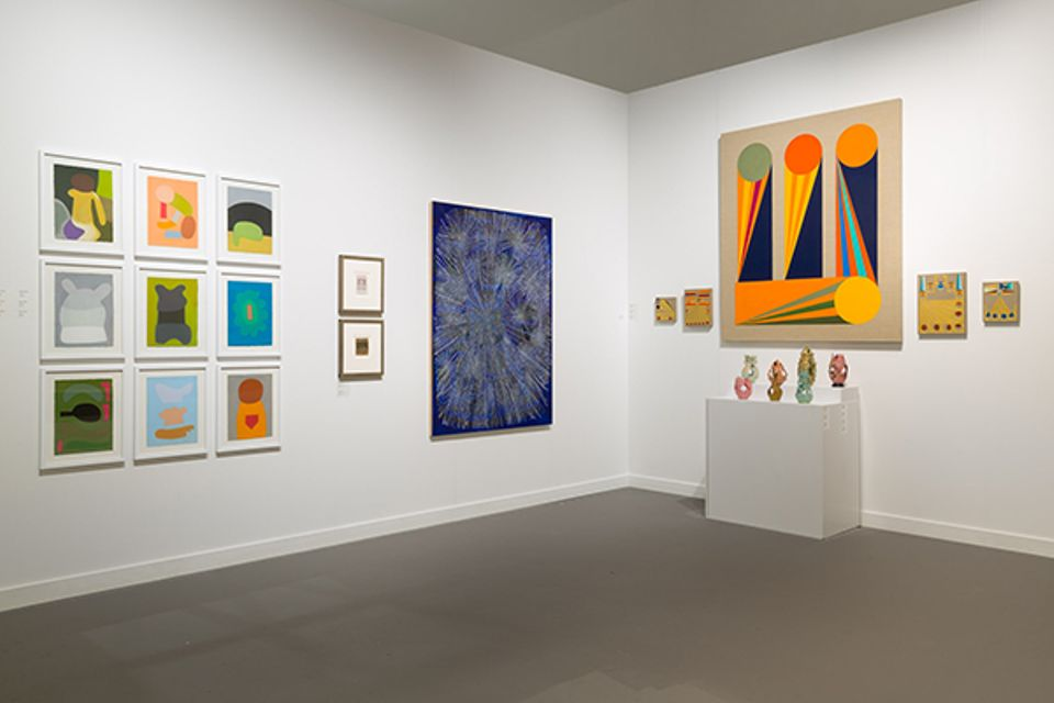 Fleisher Ollman's booth at Independent features work by Julian Martin, James Castle, Sarah Gamble, Eamon Ore-Giron and Eugene Von Bruenchenhein
