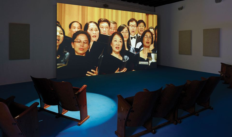 The Hong Kong Federation of Trade Unions Choir perform We are the World in Samson Young's installation