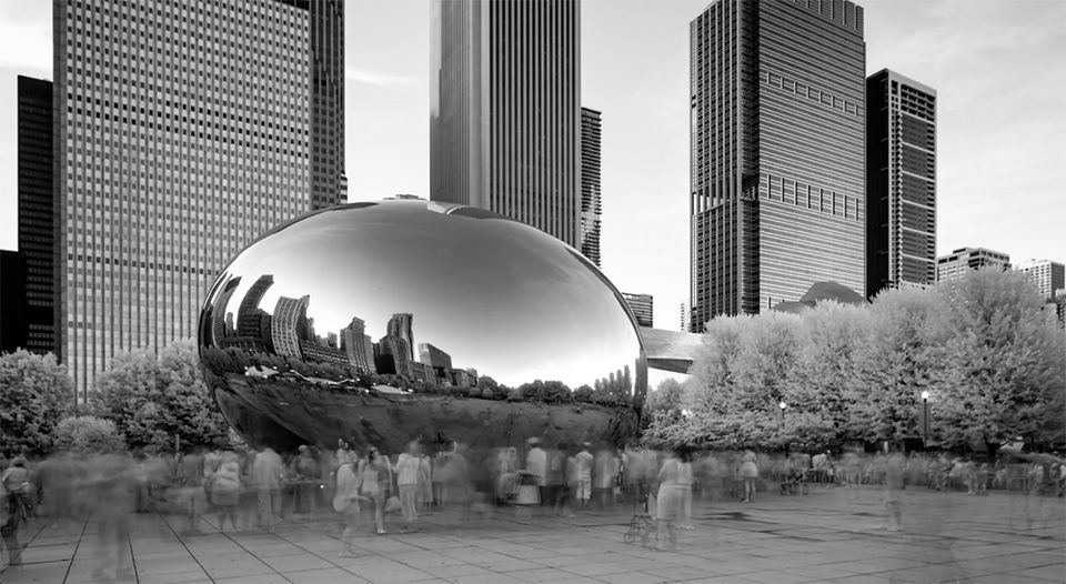 Screenshot from the NRA's video The Violence of Lies, featuring Anish Kapoor's Chicago Bean sculpture
