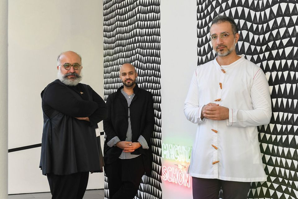 Happy disagreements: (l-r) Ramin Haerizadeh, Hesam Rahmanian and Rokni Haerizadeh