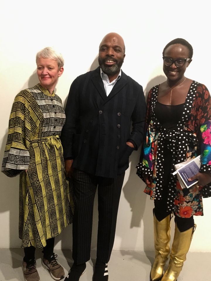 The designer Duro Olowu with the Maria Balshaw and Lynette Yiadom-Boakye, who are both wearing his designs