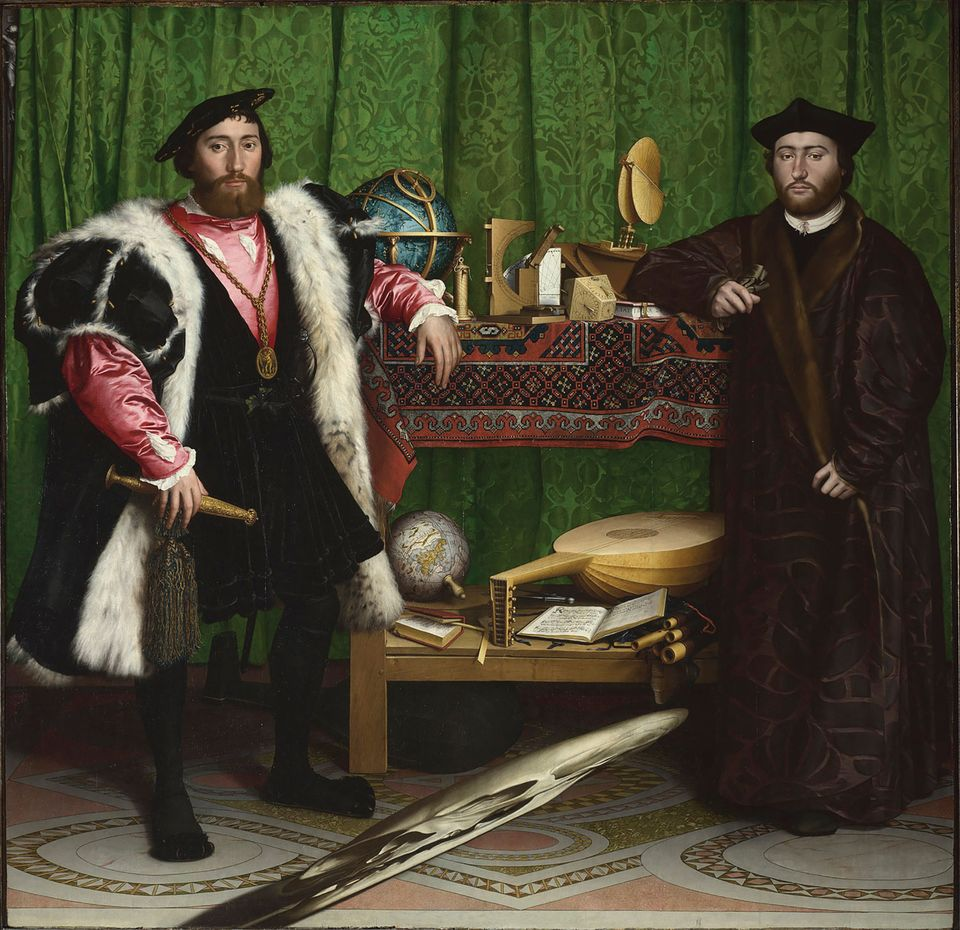 Hans Holbein the Younger, The Ambassadors (1533) was warped by water damage