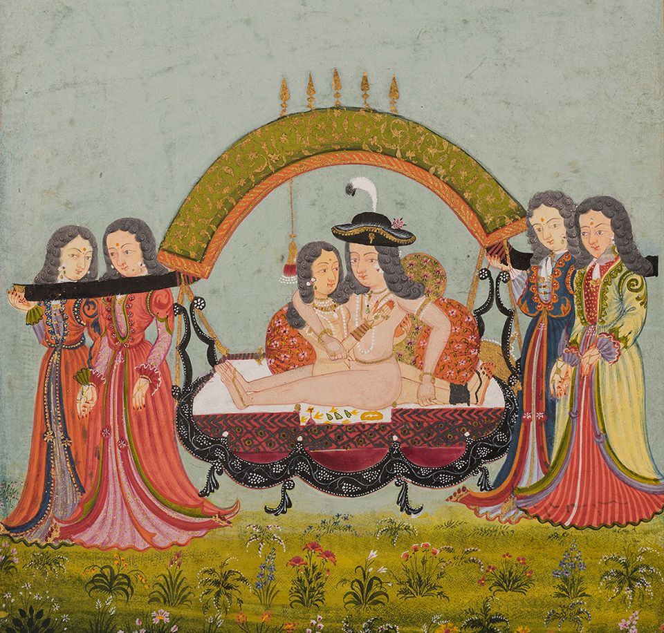 Erotic scene depicting a European couple, from Northern India, Mewar, Rajasthan (around 1700)