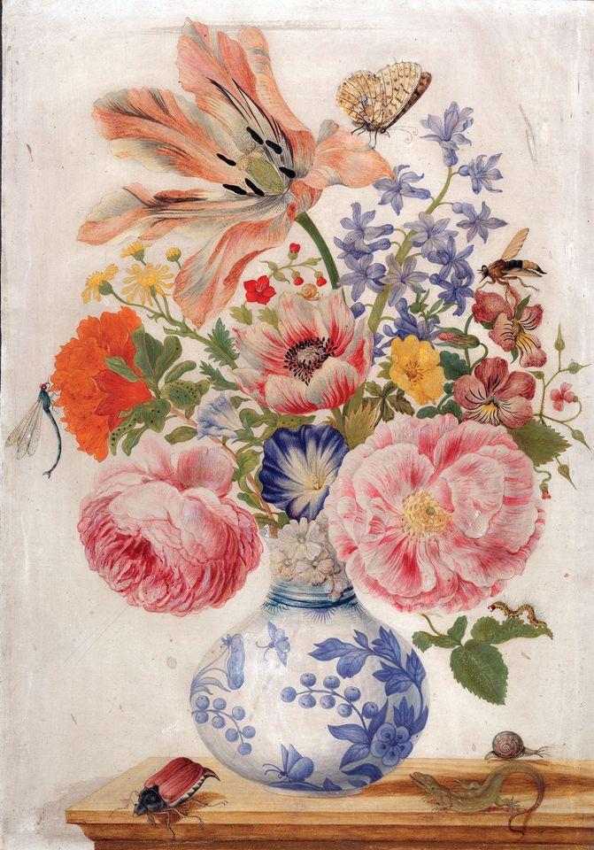 Merian's Chinese Vase with Roses, Poppies and Carnations (around 1670-80)