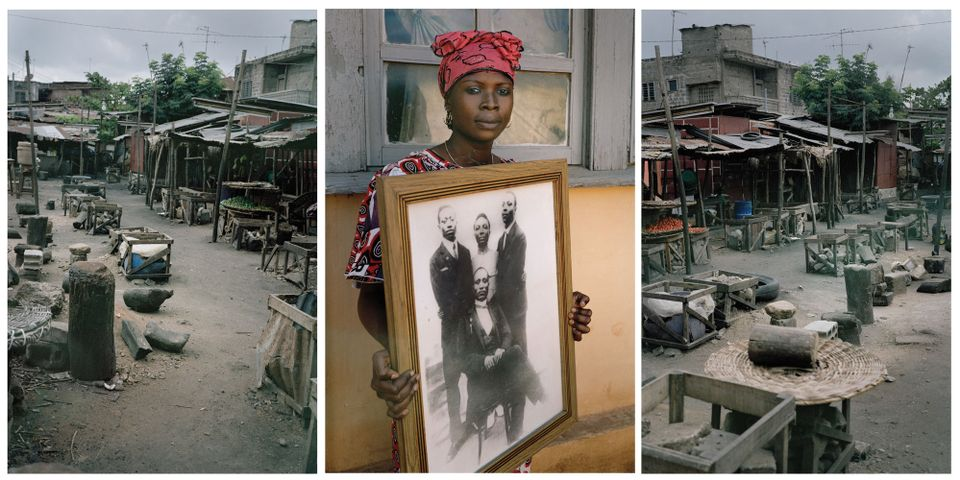 Untitled Triptych (Code Noir) (2014) by Leonce Raphael Agbodjélou