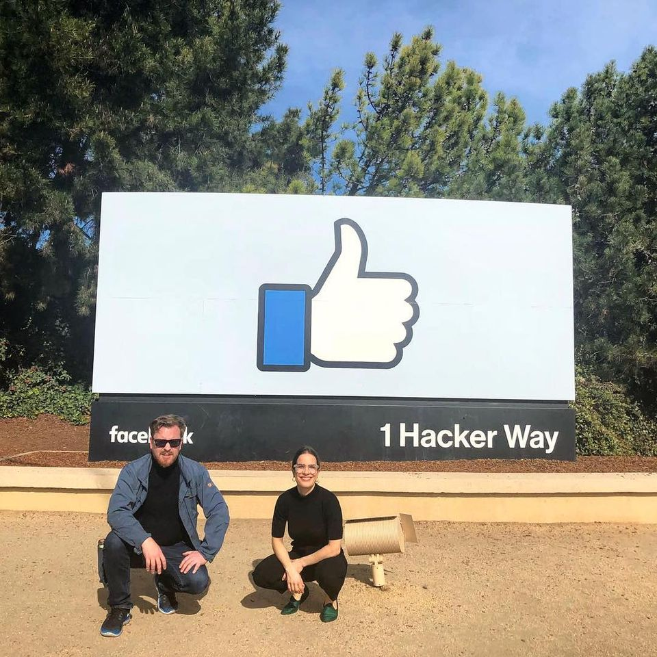 The Crossway Foundation's CEO Stephen Stapleton with Valeria Mariani, the head of projects, at Facebook's headquarters in California