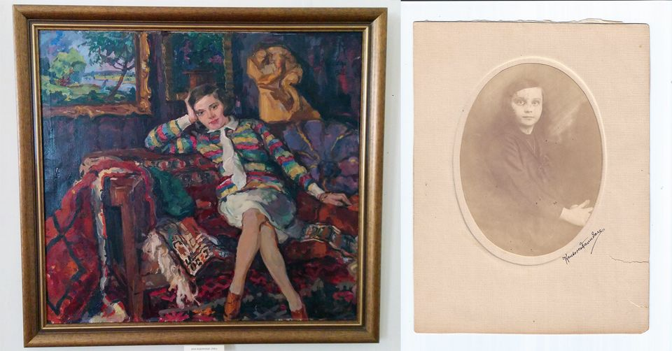 The painting of a young Magda Mandel by the painter Adalbert Erdelyi (left) and a pre-war photo of Magda