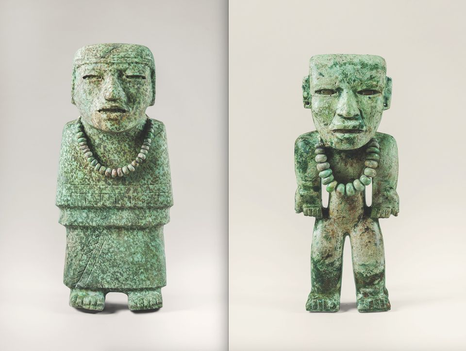 Two standing figures made from greenstone (Teotihuacan, AD200–AD250)