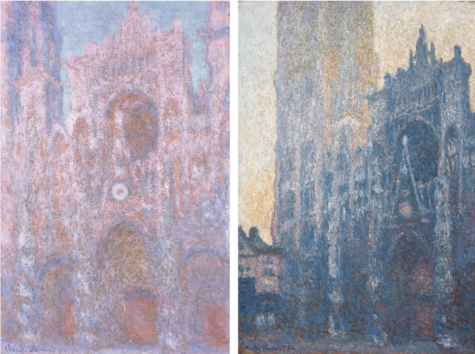 Two scenes from Claude Monet's fascination with Rouen cathedral: at sunset (1892-94) and in the morning (1894)