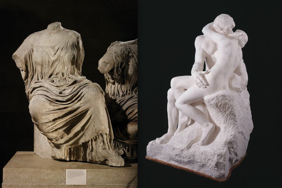 Auguste Rodin manipulated the form of Phidias's rising goddess figure from the east pediment of the Parthenon (left) to create a new composition for The Kiss