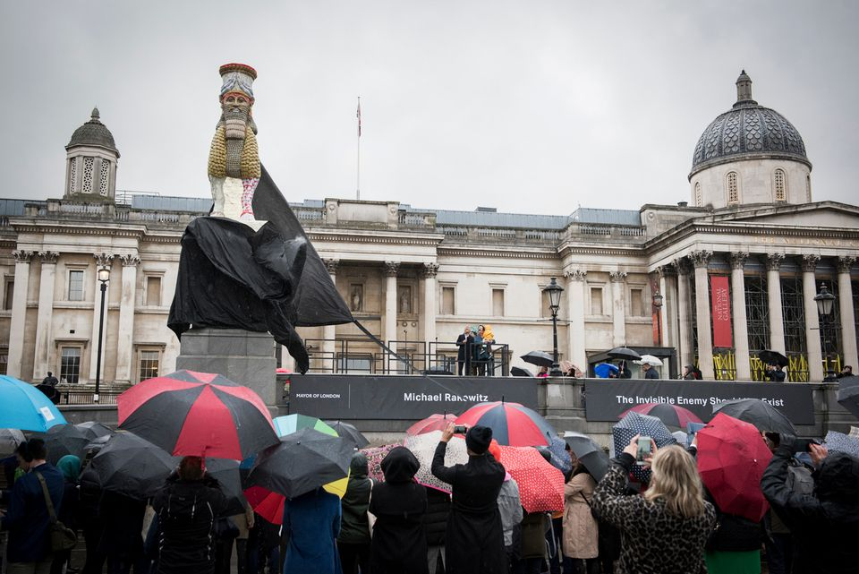 The unveiling of the latest Fourth Plinth commission, The Invisible Enemy Should Not Exist, by Michael Rakowitz in Trafalgar Square, London