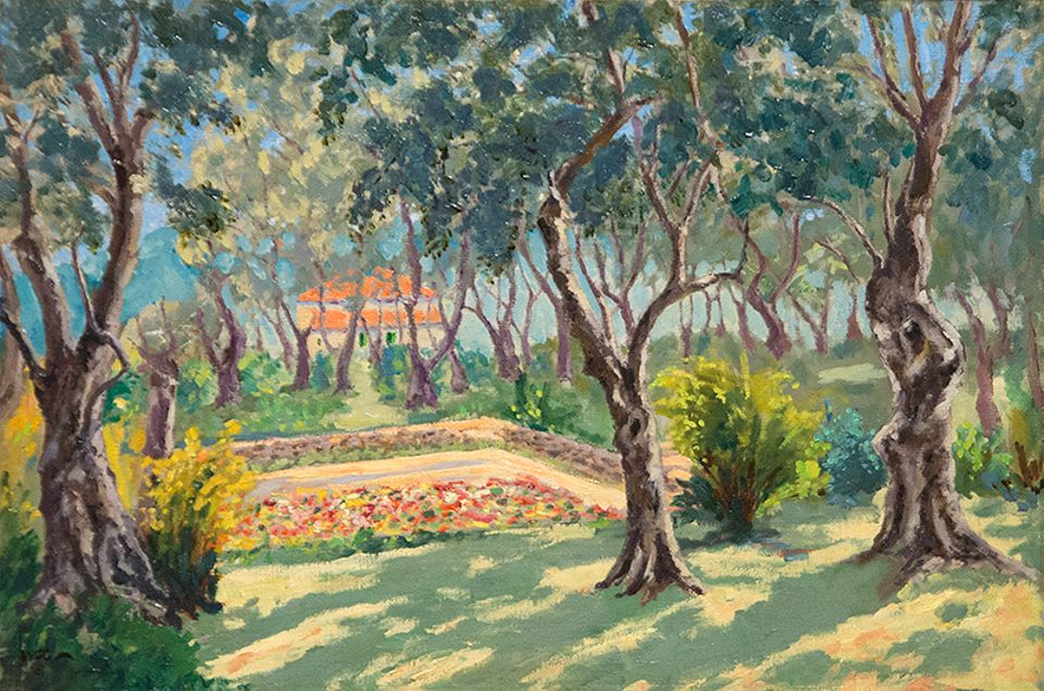 Winston Churchill, The Sunken Garden of La Dragonnière, Cap Martin (around 1930s)