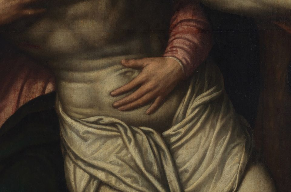 A detail of the offending hand of the Virgin on Christ's stomach in the painting