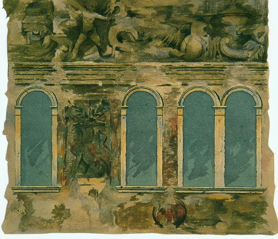 A 19th-century watercolourist, Zaccaria dal Bo, did sketches of what was left of the frescoes, which are atmospheric but lack detail, perhaps because the frescoes themselves were too faded by that point