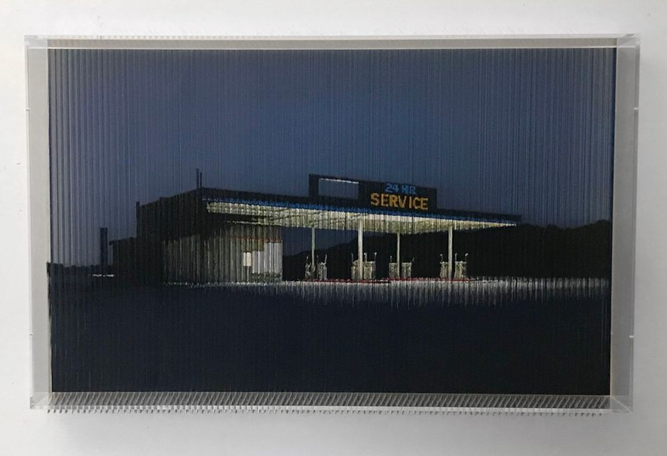 Robert Currie's photo-based construction 55,860cm/21,992 Inches of Nylon Monofilament and Coloured Acrylic