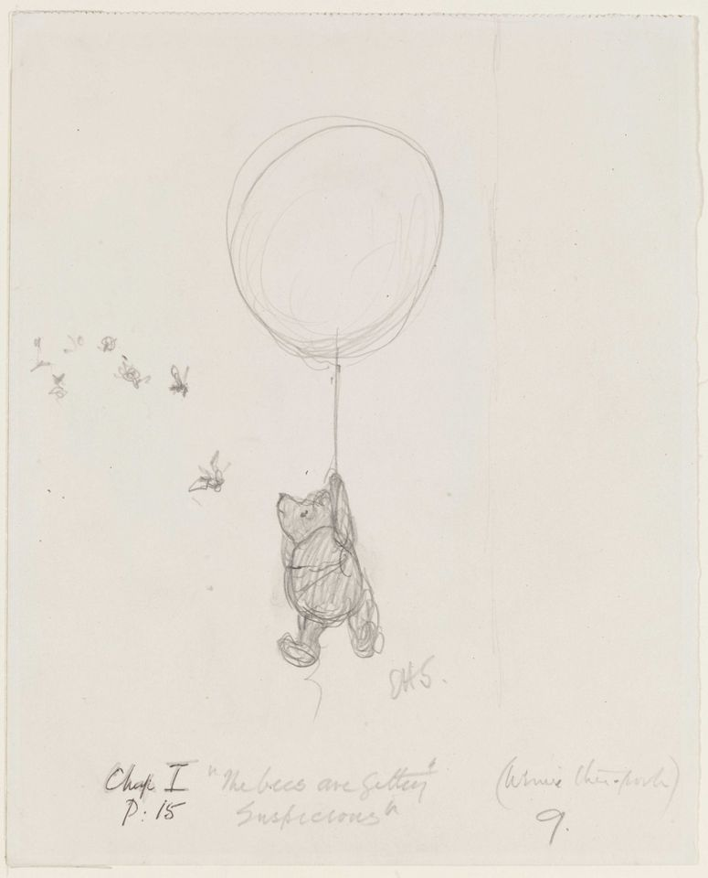 The Bees are Getting Suspicious, pencil drawing by E. H. Shepard, from Winnie-the-Pooh