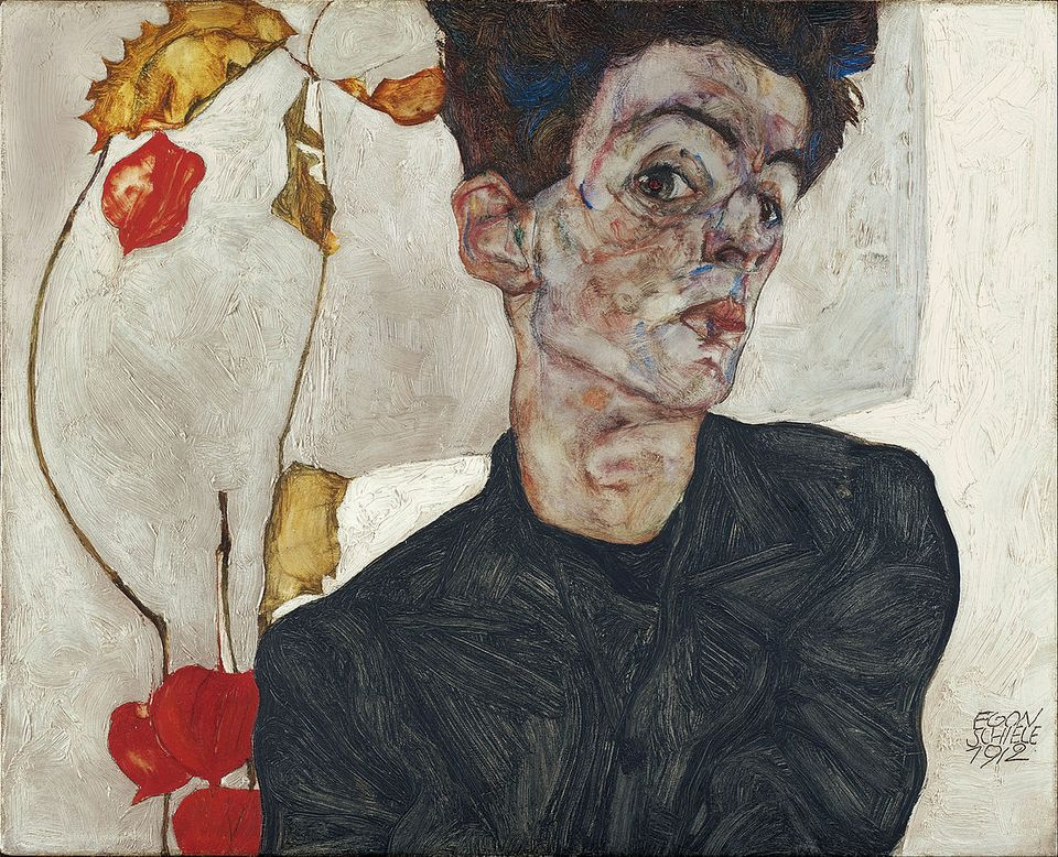 A self-portrait by the Austrian artist Egon Schiele. This painting is not among the disputed works