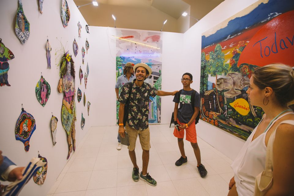 Visitors at the inaugural Meca art fair in San Juan