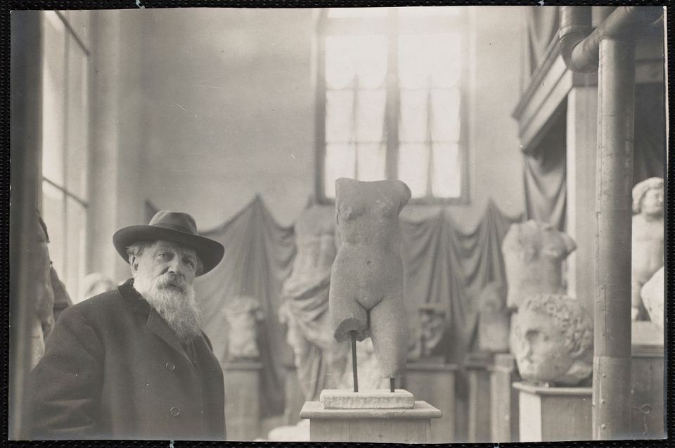 Auguste Rodin in his Museum of Antiquities at Meudon on the outskirts of Paris, around 1910