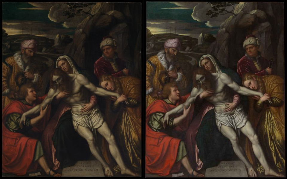 Then and now: Moretto da Brescia's Entombment (1554) before its recent restoration (left) and after the treatment
