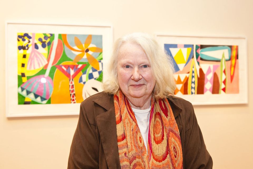 Gillian Ayres pictured in front of her prints at Victoria Art Gallery, Bath (2012)