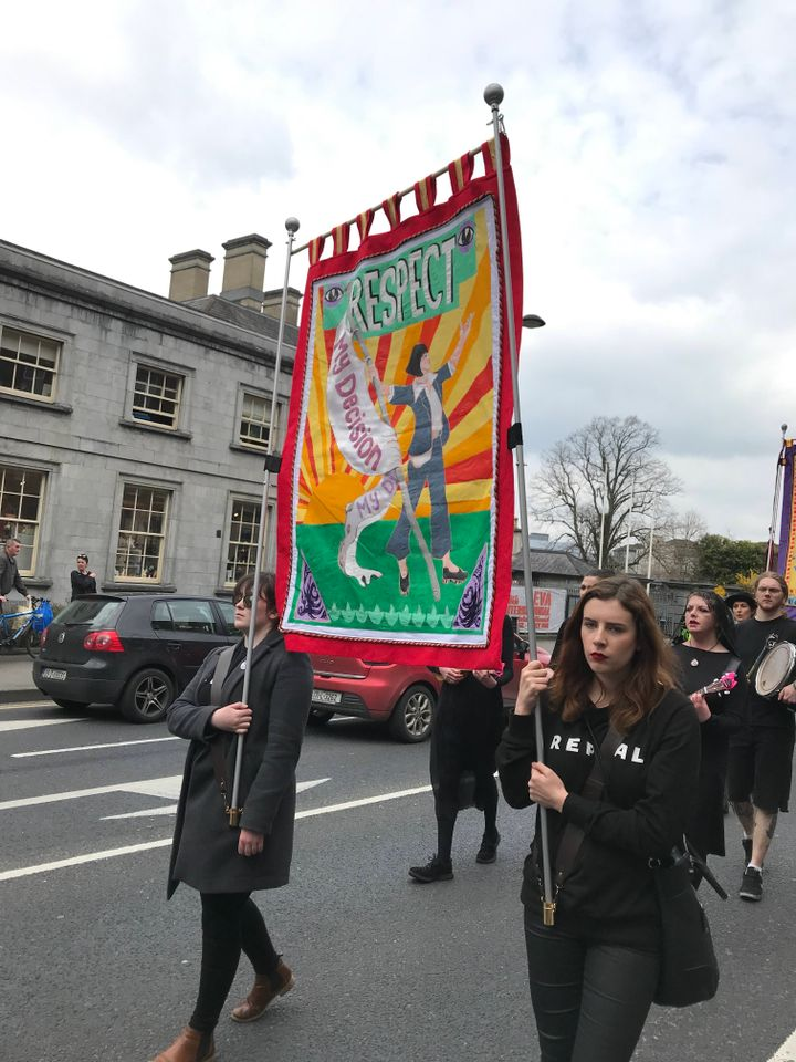 Artists' Campaign to Repeal the Eighth Amendment march through the streets of Limerick