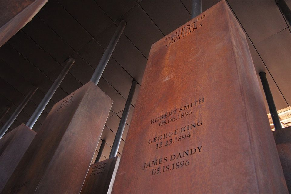 One of the monuments to lynching victims in the National Memorial for Peace and Justice