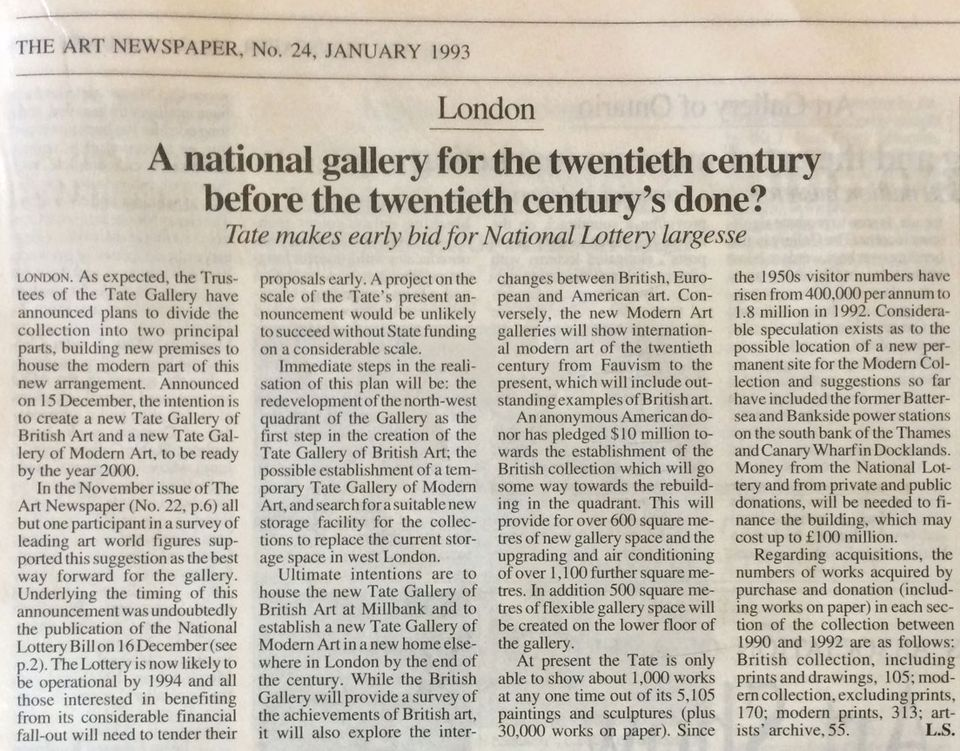 How we reported on the Tate's plans for a Modern Art Gallery in January 1993