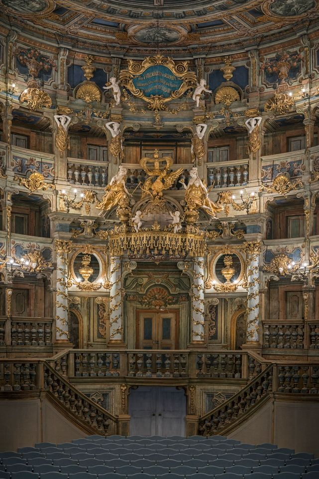 "As well as its over half-decade of restoration, the Free State of Bavaria has invested €29.6m in the opera house. Faithful to the original, the grandness of the interior is evident in this image, a view of the ""Fürstenloge"" or ""royal box""."