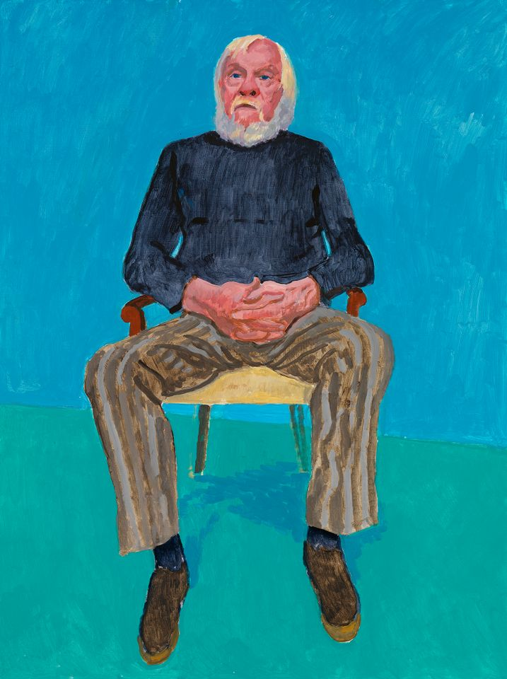 David Hockney, John Baldessari, 13th, 16th December 2013 from 82 Portraits and 1 Still-life, acrylic on canvas (one of an 82-part work), collection of the artist