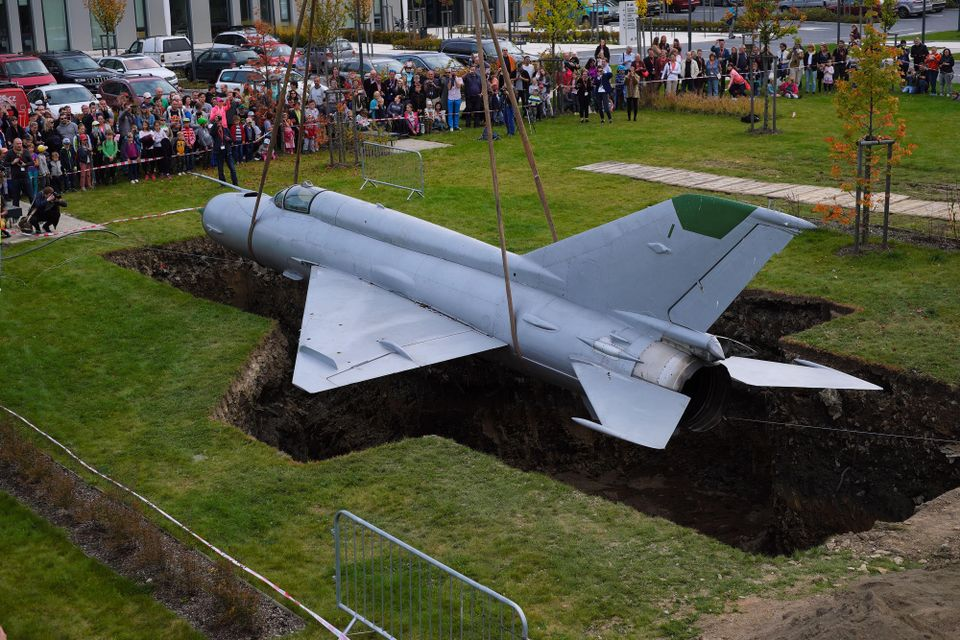 Roger Hiorns buried a Soviet-made MIG21 jet plane at the Eli Beamlines Laser facility in Prague last year