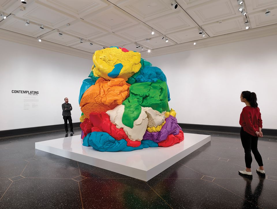 "Installation view at Getty Villa's exhibit ""Plato in L.A.: Contemporary Artists' Visions"" Jeff Koons American, born 1955 Play-Doh, 1994–2014 Polychromed aluminum Object: H: 315 x W: 386.7 x D: 348 cm"